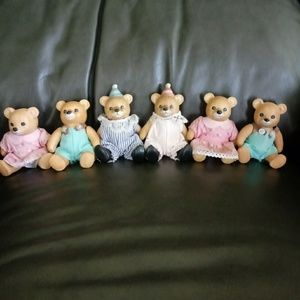 Homco vintage ceramic bears set of 6